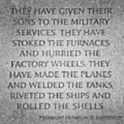 They Have Given Their Sons To The Military... - National World War II Memorial In Washington Dc Poster