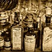 Those Old Apothecary Bottles In Sepia Poster