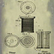 Thread Spool Patent 1877 Weathered Poster