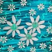 Three And Twenty Flowers On Blue Poster