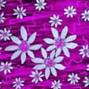 Three And Twenty Flowers On Pink Poster