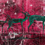 Three Antelope On Red Poster