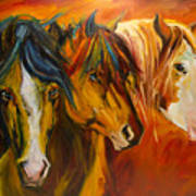 Three at the Fence Line Poster
