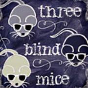 Three Blind Mice Children Chalk Art Poster