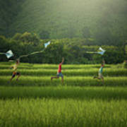 Three Boys Are Happy To Play Kites At Summer Field In Nature In  Poster