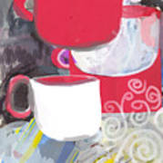 Three Coffee Cups Red And White Poster