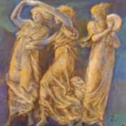 Three Female Figures Dancing And Playing Poster