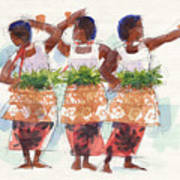 Three Fijian Dancers Poster