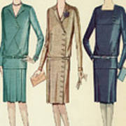 Three Flappers Modelling French Designer Outfits, 1928 Poster