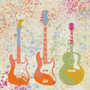 Three Guitars Paint Splatter Poster