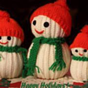 Three Knit Christmas Snowmen Poster