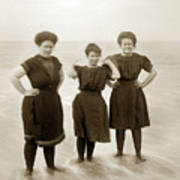 Three Ladies Bathing In Early Bathing Suit On Carmel Beach Early 20th Century. Poster