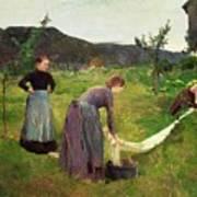 Three Ladies Washing Poster