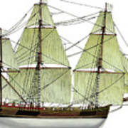 Three Masts Commercial 1760 Poster