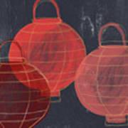 Three Red Lanterns- Art By Linda Woods Poster