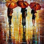 Three Red Umbrellas Poster