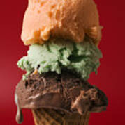 Three Scoop Ice Cream On Red Background Poster by Garry Gay