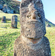 Three Standing Moai Statues Poster