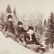Three Tobogganers On A Snowy Hill Poster