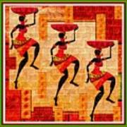 Three Tribal Dancers L B With Alt. Decorative Ornate Printed Frame. Poster