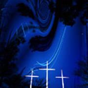 Three White Crosses Poster