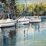 Three White Sails Docked Poster