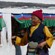Tibetan Grandmother Turning The Prayer Wheel Poster