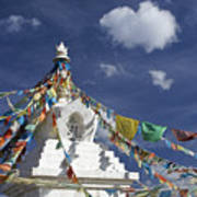 Tibetan Stupa With Prayer Flags Poster