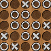 Tic Tac Toe Wooden Board Generated Seamless Texture Poster