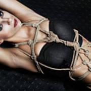 Tied Up Girl, Rope Portrait - Fine Art Of Bondage Poster