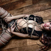 Tied Up, On Floor - Fine Art Of Bondage Poster by Rod Meier