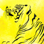 Tiger Animal Decorative Black And Yellow Poster 3 - By  Diana Van Poster
