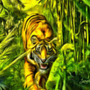 Tiger In The Forest Poster