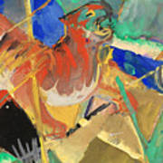 Tiger In The Jungle By Franz Marc Red And Yellow Tiger On The Prowl Poster