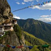 Tiger's Nest Prayer Flags Bhutan Poster
