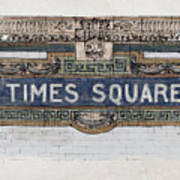 Tile Mosaic Sign, Times Square Subway New York, Handmade Sketch Poster