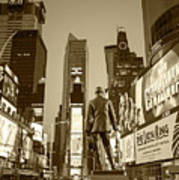 Times Square Ny Overlooking The Square Sepia Poster
