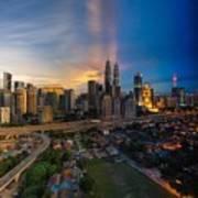 Timeslice Of Day To Night Of Kuala Lumpur City Poster