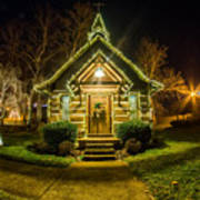 Tiny Chapel With Lighting At Night Poster