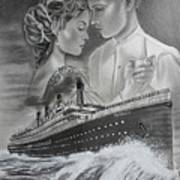 Titanic Drawing With Kate And Leonardo Poster