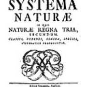 Title Page, Systema Naturae, Carl Poster