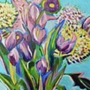 Pink Floral On Blue Poster