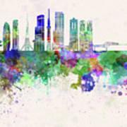 Tokyo V3 Skyline In Watercolor Background Poster