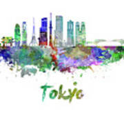 Tokyo V3 Skyline In Watercolor Poster