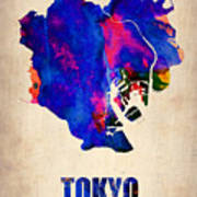 Tokyo Watercolor Map 2 Poster
