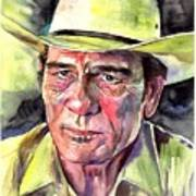 Tommy Lee Jones Portrait Watercolor Poster