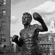 Tony Demarco Boxer Statue North End Boston Ma Sunset Black And White Poster