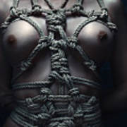 Topless Rope Harness Close Up - Fine Art Of Bondage Poster