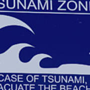 Topsail Island's Tsunami Zone Sign Poster
