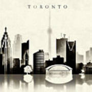 Toronto Black And White Poster